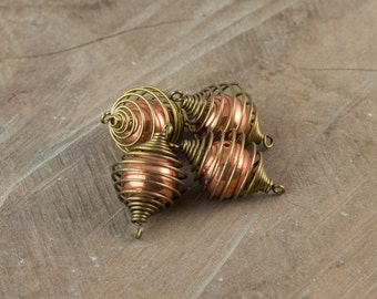 Vintage Raw Brass Cage with Acrylic Copper Bead Connector mtl364