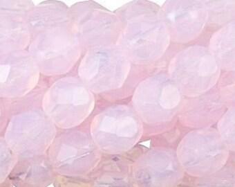 Czech Faceted Milky Soft Rosaline Firepolish Glass Beads 6mm (25)