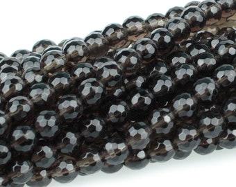 "Dakota Stones Smoky Quartz 6mm Faceted Round Gemstones 8"" Strand SQZ6RD-F-8"