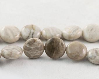 "30% OFF Dakota Stones Silver Mist Jasper 12mm Coin Disc Gemstones. 8"" Strand. SMJ12DIS-8"