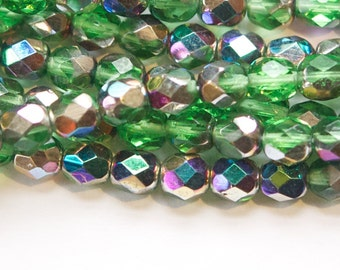 Czech Faceted Green Glass Beads with Vitrail Finish 6mm (30) czh014