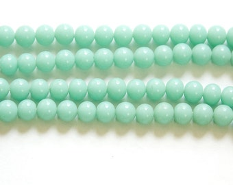 Vintage Green Turquoise Glass Beads Japan 6mm (10)  jpn001L