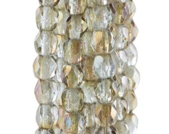 Czech Faceted Twilight Alexandrite Firepolish Glass Beads 4mm (50)