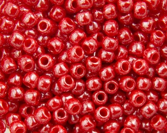 11/0 TOHO ROUND Opaque Lustered Cherry Seed Bead (8g)