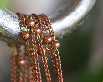 Vintage Copper Beaded Chain with Copper Beads Japan chn049