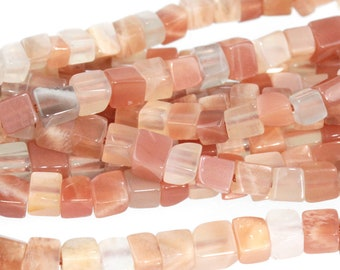 "Dakota Stones Orange Moonstone 4mm Cubes Gemstones. 16"" Strand. OMS4CUB"