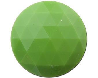 Vintage Green Faceted Acrylic Cabochons 30mm (2) cab825D