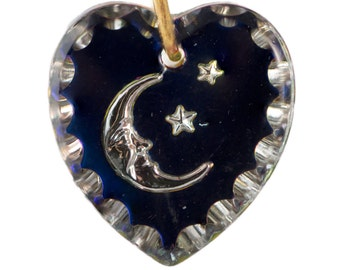 1 Hole Helio Blue Heart Etched Moon and Stars Glass Intaglio Pendant 15x14mm (2) int022B