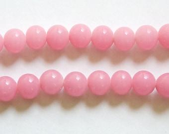 Vintage Pink Glass Beads Japan 6mm (10)  jpn001J