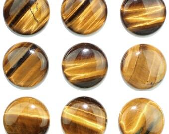 Dakota Stones Tiger Eye 25mm Round Cabochon Gemstones. CAB-TGE25DC