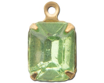 Faceted Peridot Glass Stone in 1 Loop Raw Brass Setting 10x8mm (4) squ003NN