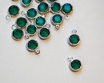 1 Loop Emerald Green Swarovski Silver Channel Set Drops cha002
