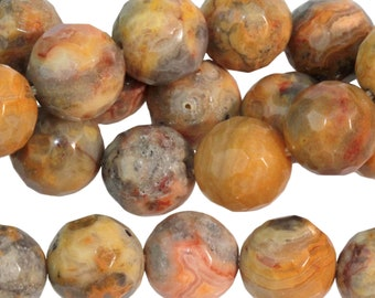 "Dakota Stones Faceted Crazy Lace Agate 10mm Round Beads Gemstones. 8"" Strand. CLA10RD-8"