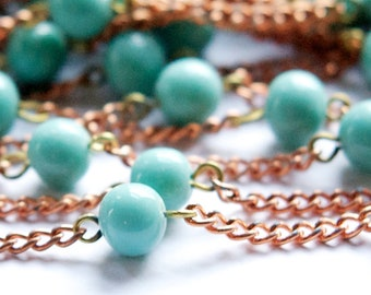 Vintage Green Turquoise Glass Beaded Chain Japan chn078