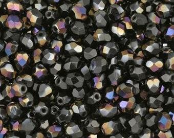 Czech Faceted Twilight Jet Firepolish Glass Beads 6mm (25)