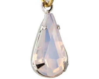 Pink Opal Faceted Glass Teardrop Stone in 1 Loop Silver Setting par007AV