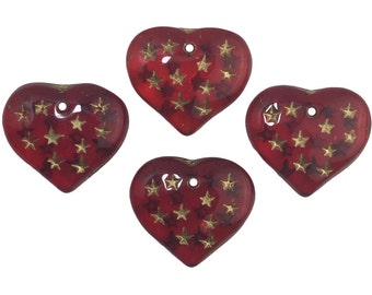 Ruby Red Hearts W/ Gold Painted Engraved Star Beads 14x12mm (8) bds1011B