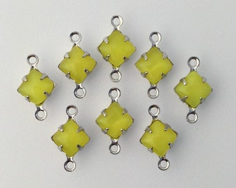 Yellow Moonglow Square Glass Stones 2 Loop Silver Plated Setting 6mm (8) squ013LL2
