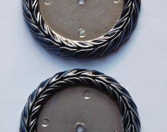 Vintage German Antiqued Silver Plated Plastic Settings 28mm stp007