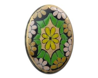 Vintage Glass Mosaic Cabochons Green Germany 14x10mm (2) cab879C