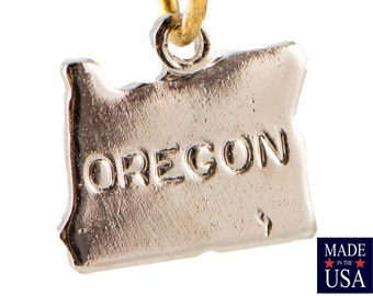 Shiny Silver Plated Tiny Oregon State Charm Drops (2) chr225R