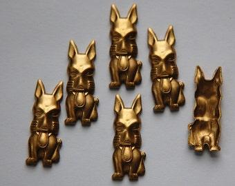Big Face Raw Brass Dog Stamping mtl301