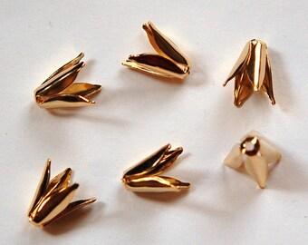 Gold Plated Long 4 Petal Bead Caps (10) mtl303B