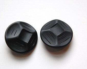 Vintage Etched Geometric Black Plastic Buttons btn030B