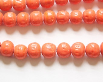 Vintage Coral Glass Baroque Beads Japan 8-9mm (6) jpn006C