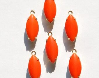 Vintage Opaque Orange Glass Navettes in 1 Loop Brass Setting nav001U