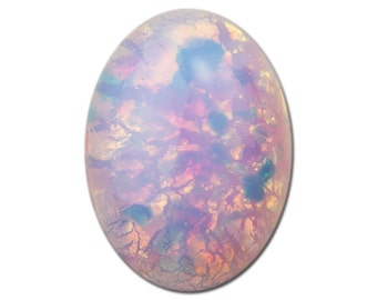 Harlequin Fire Opal Oval Glass Cabochons 18x13mm (2) cab5005K
