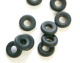 Preciosa Smooth Matte Black Glass Ring Link 9mm (20) czh021C