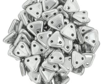 Matte Metallic Silver CzechMates Triangle 2 Hole Glass Beads 6mm (50)