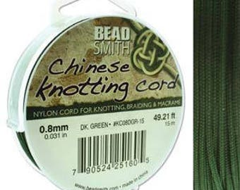 Dark Green Chinese Knotting Cord (.8mm/.031in) 15m/16.4yds