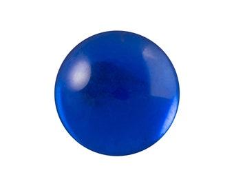 Transparent Sapphire Foiled Glass Round Cabochons 15mm (4) cab2007L