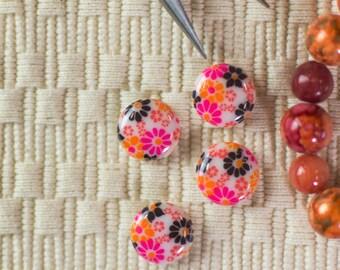 Vintage Orange Pink and Black Floral Glass Cabochons 12mm (4) cab285A