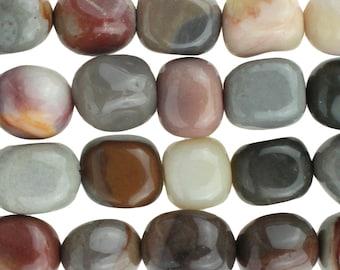 "Dakota Stones Polychrome Jasper 8x10 Tumbled Nugget Gemstones. 8"" Strand. POL8x10NUG-8"