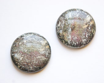 Metallic Black with Purple Green White Vintage Lucite Cabochons 30mm cab549D