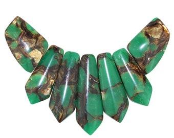 Dakota Stones Green Serpentine and Bronzite Pendant Gemstones. 7 Pc Set. GRSPBRZ-PT-PEN-7