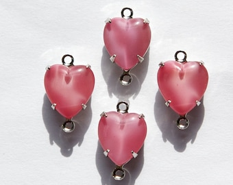 Vintage Rose Pink Moonglow Glass Heart 2 Loop Silver Plated Setting 10mm hrt009A2