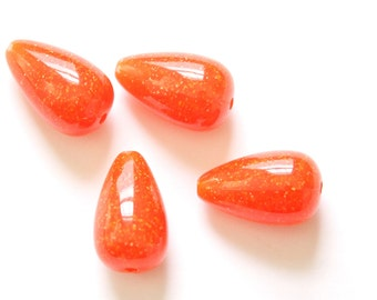Vintage Dark Orange with Speckles Chubby Teardrop Acrylic Beads (4) bds1002D