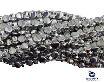 Preciosa Silver Glass Czech Pellet Beads 4x6mm (50) czh027L