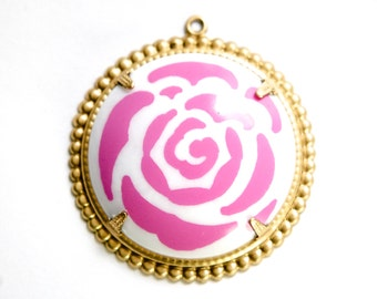 Pop Color Pink Flower Cab in Brass Findings Earrings or Pendant  (2) pnd167G