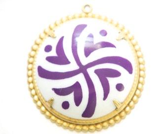 Pop Color Purple Design Cab in Brass Findings Earrings or Pendant  (2) pnd166E