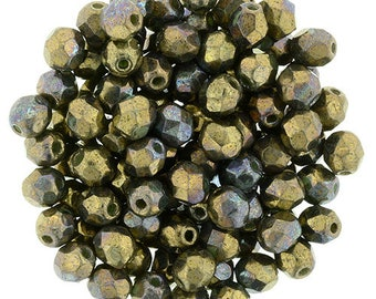 Czech Faceted Oxidized Bronze Clay Firepolish Glass Beads 4mm (50)