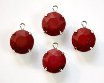 Vintage Opaque Burgundy Faceted Glass Stones 1 Loop Silver Settings 12mm rnd005AA