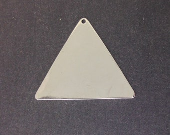 1 Hole Silver Plated Flat Geometric Triangle Pendant Charm (6) mtl145A