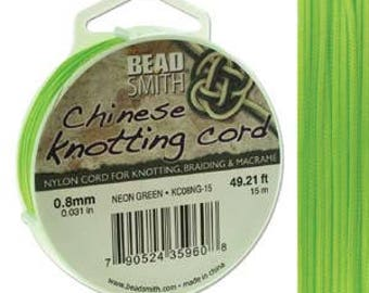 Neon Green Chinese Knotting Cord (.8mm/.031in) 15m/16.4yds