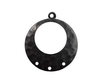 1 Loop w/ 3 Hole Matte Black Hammered Hoop Pendant (4) mtl100Z