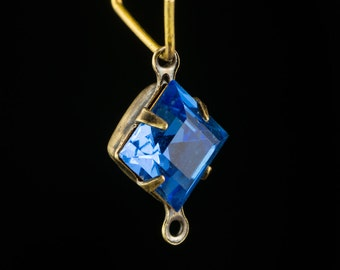 Sapphire Blue Square Glass Stones 2 Loop Brass Ox Setting 8mm (6) squ017RR2